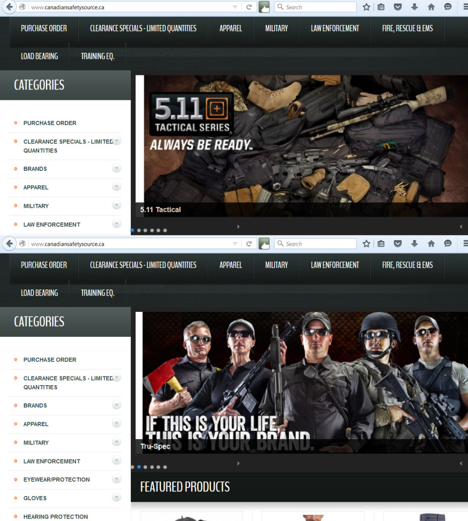 Screen shot of online police gear sales.